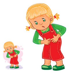 Little girl clings to her stomach vector