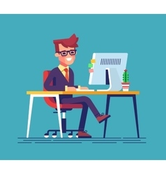 Man sitting legs crossed and typing something vector