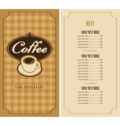 menu with cup of coffee vector image