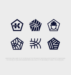 Modern professional logo set in building industry vector