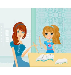 Mom helping her daughter with homework or vector image