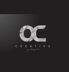 oc o c letter logo with zebra lines texture vector image