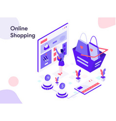 online shopping isometric modern flat design vector image