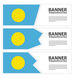 Palau flag banners collection independence day vector