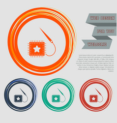 Patch icon on red blue green orange buttons vector
