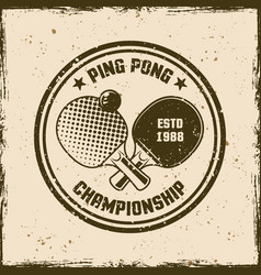 Ping pong vintage round emblem vector