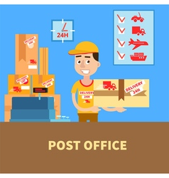 Post office postman with the parcel postal service vector