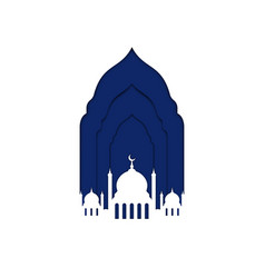 ramadan kareem mosque window with crescent moon vector image