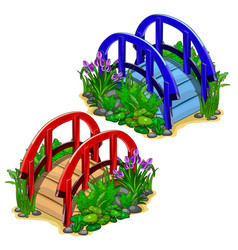 Red and blue decorative bridges with plants vector