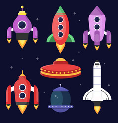 rockets and space shuttles vector image