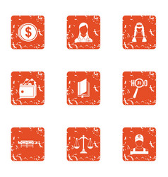 Service payment icons set grunge style vector