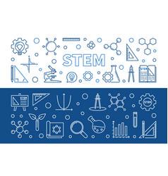 Set 2 stem concept linear horizontal vector