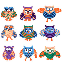 Set nine amusing owls vector