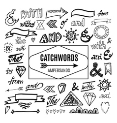 Set of catchwords ampersands and other vector