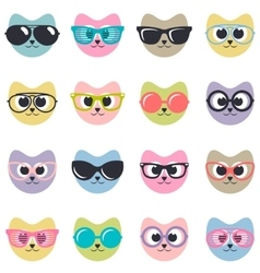 set of cats with sunglasses vector image