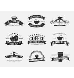 Set of coffee logo with ribbons vector