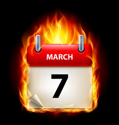 Seventh march in calendar burning icon on black vector