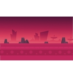 Silhouette of building and rock vector image