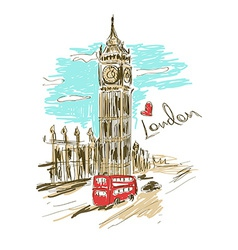 Sketch big ben tower vector