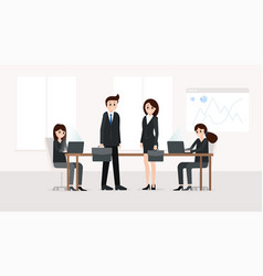 smiling teamworkers at meeting room vector image