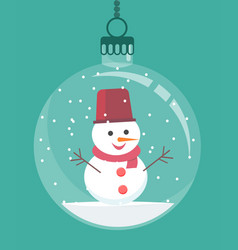 snowman inside christmas decoration vector image