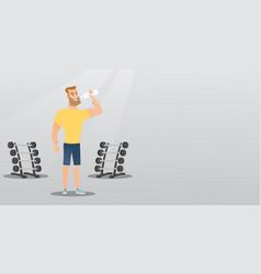 sportsman drinking water vector image