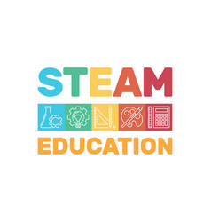 Steam education colored banner or vector