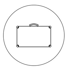 suitcase icon black color in circle isolated vector image