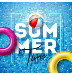Summer time with float and beach ball vector