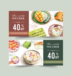 Thai sweet voucher design with sticky rice mango vector