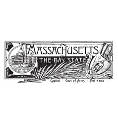 the state banner of massachusetts the bay state vector image