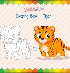 Tiger coloring book educational game vector