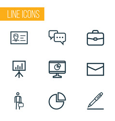 Trade outline icons set collection of briefcase vector
