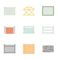 Types of fence icons set cartoon style vector