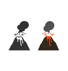 Volcano volcanic eruption icon or symbol vector