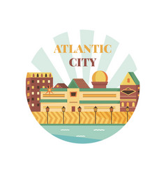 Welcome to atlantic city poster view on city vector