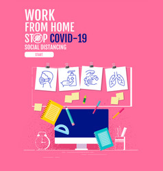 work from home social distancing concept stop vector image
