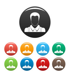 worker avatar icons set color vector image