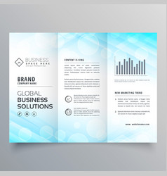 abstract blue trifold business brochure layout vector image