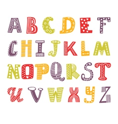 Cute hand drawing alphabet Funny font Hand drawn vector image