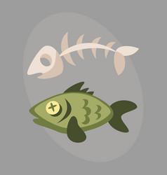 fish bone garbage for recycling graphic wild vector image