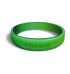 Friends green plastic wristband vector