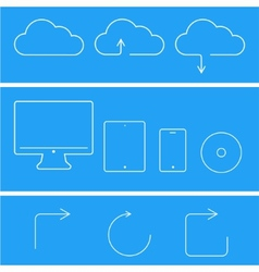 modern flat technology icons set vector image