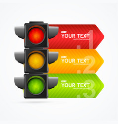 realistic 3d detailed road traffic light banner vector image
