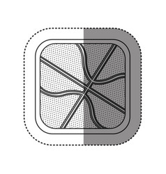 sticker of monochrome rounded square with vector image vector image
