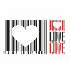 valentines bar code vector image vector image