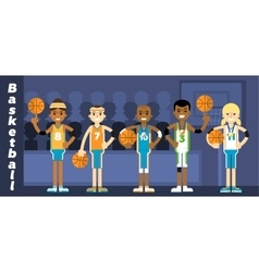 Basketball Team on the podium awarding vector image