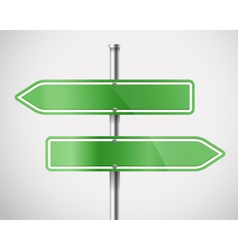 Blank green metal arrow boards vector image