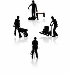 construction workers silhouettes vector image vector image