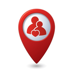 Couple icon with heart map pointer vector image vector image